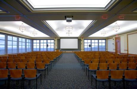The University Hall Conference Center Ballroom set for a lecture