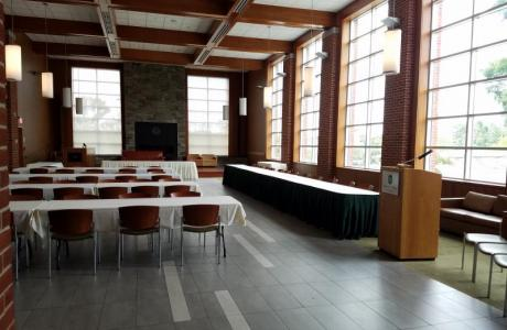 Fels Lounge used as a formal dinner space .