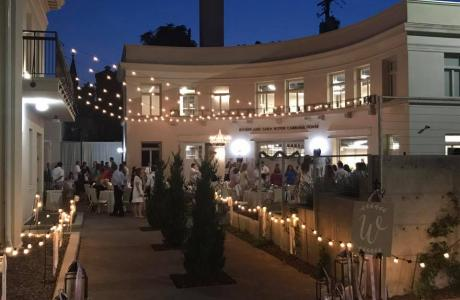 Gorgeous strung lights to the Carriage House for an elegant wedding
