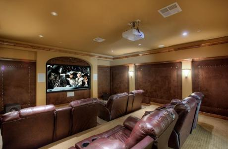 "Unbelievable Theater Room with Recliners for 8 and a 102"" Screen"