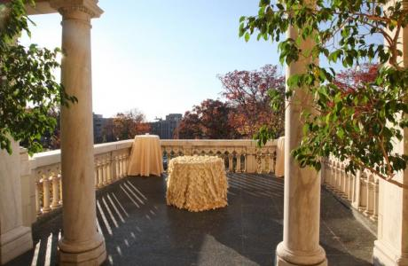 Our terrace overlooks the park- great for cocktails, ceremonies, & small dinners