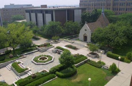 Visitors will find a garden-like sanctuary in the center of campus.
