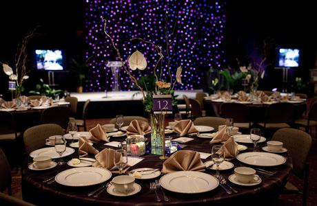 Sample table at a gala in the Baker University Center Grand Ballroom