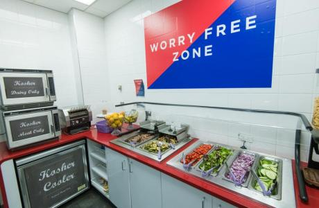 A peanut-free cafeteria includes options for kosher, gluten-free, vegetarian, vegan, and Halal diets.
