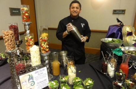 Make your own salad with ingredients shaken in a cocktail shaker by a bartender
