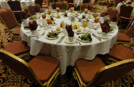 Full banquet table with catering provided by our exclusive caterer