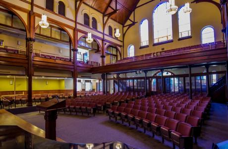 Bomberger Auditorium is our largest auditorium space and fits around 475.