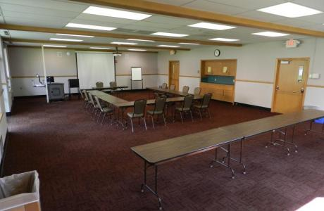 A meeting space fully equipped with high-tech AV equipment