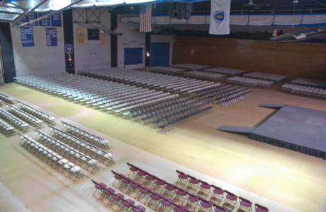 The Gym set for Commencement