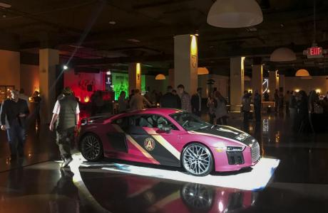 MLS Cup Reception in Davison Ballroom, custom wrapped audi in venue during party