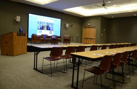The Multipurpose Room is a Library venue well-outfitted with built-in audio-visual equipment for daytime conferences, meetings, and seminars.