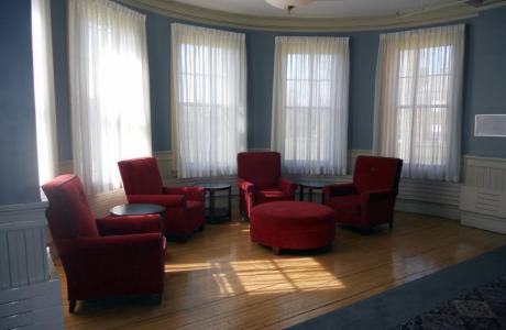 Each residence hall has an inviting living room space