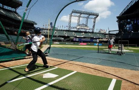 Test your skills at home plate where a pitcher will throw to you as you swing fo
