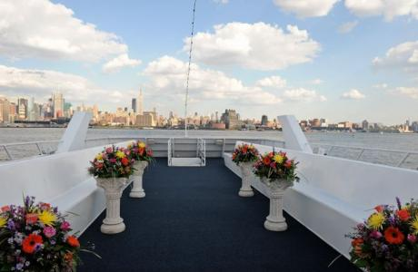 Royal Princess Outdoor Rooftop Wedding Ceremony Deck with Cushioned Bench Seats