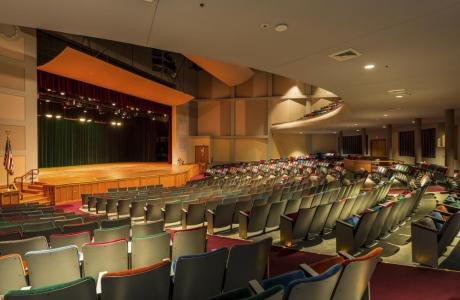 Theatre style space, seating up to 1000, sound, lighting & projection technology