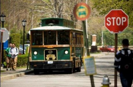 Trolley service throughout campus into town is frequent and easy.