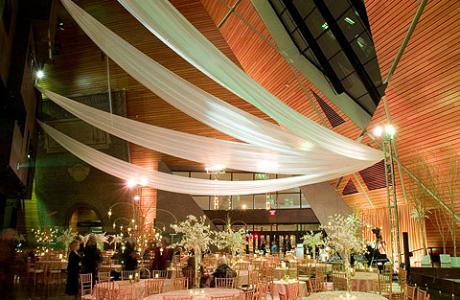 90' tall ceilings and large windows make Memorial Hall a lovely celebration venue
