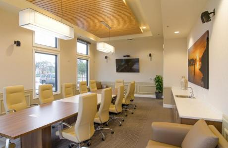Boardroom setting with comfortable chairs
