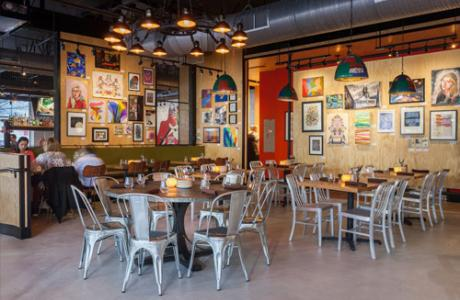 the art-filled dining room at Palette