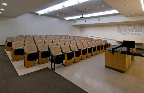 Auditorium style classroom space. An excellent option for your next workshop or training.