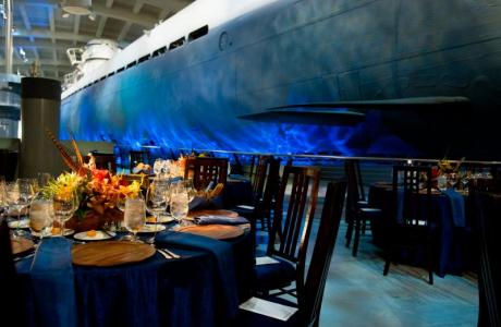Dine beside a submarine in the U505 exhibit