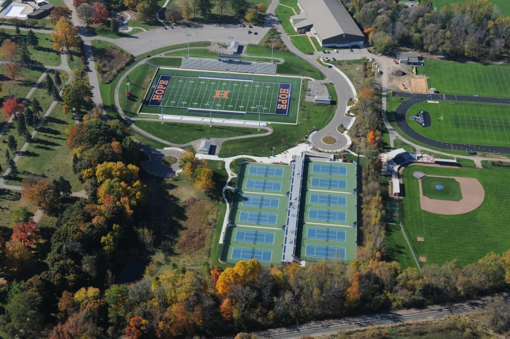 Aerial view of football, baseball, tennis, and track areas