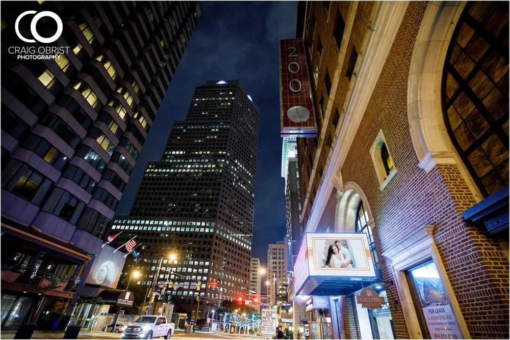 The outside of our venue and our available digital marquee on peachtree street