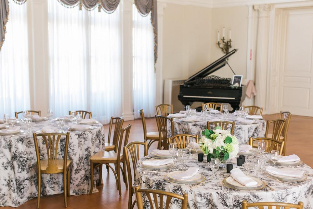 The Ballroom can accommodate 175 for seated meal and 250 for reception