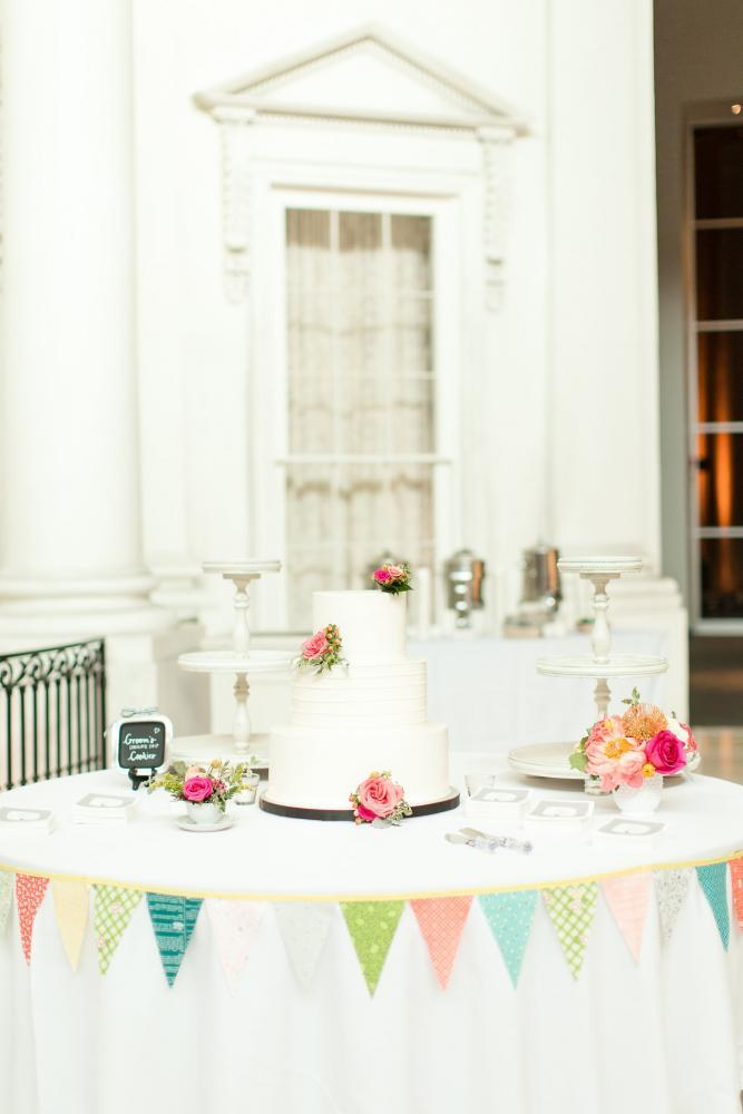 Cake and cookies at a wedding reception held at the Museum. (Photo by Jill Gum Photography)