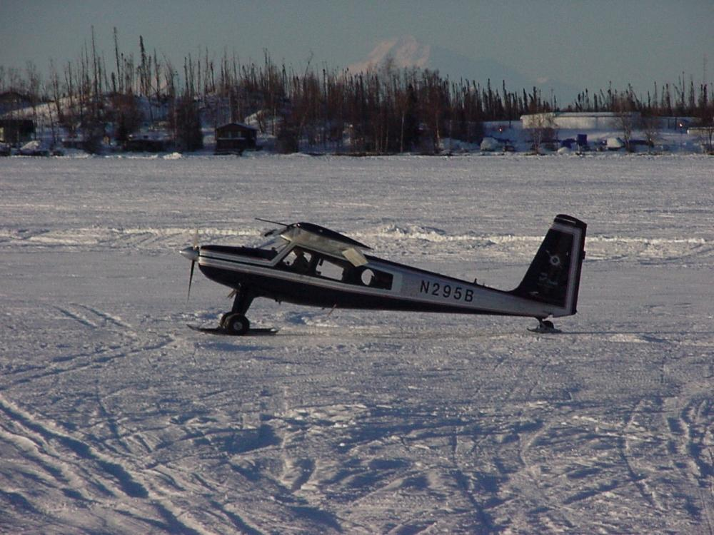 Landing on frozen lake