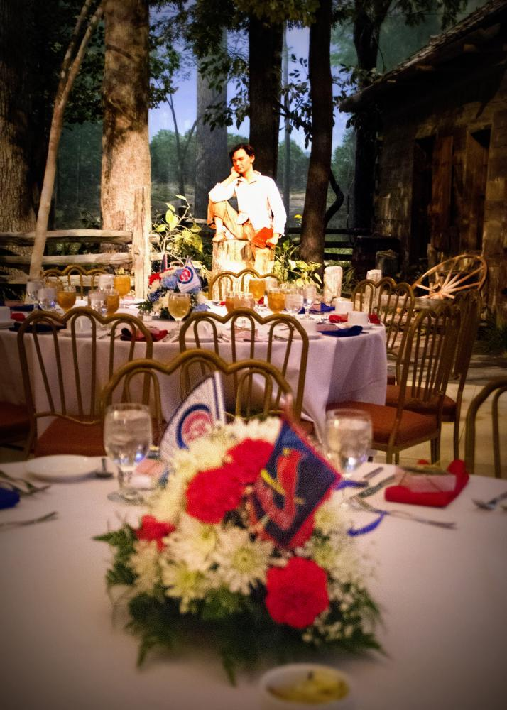 Exhibit-themed table decorations further enhance the fun of a dinner at the Museum.