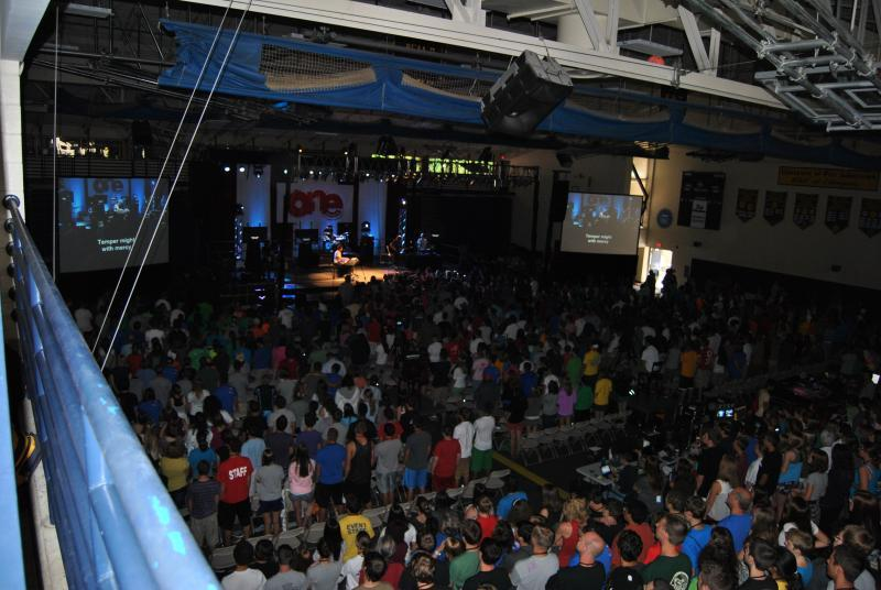 Concert being held in the gymnasium