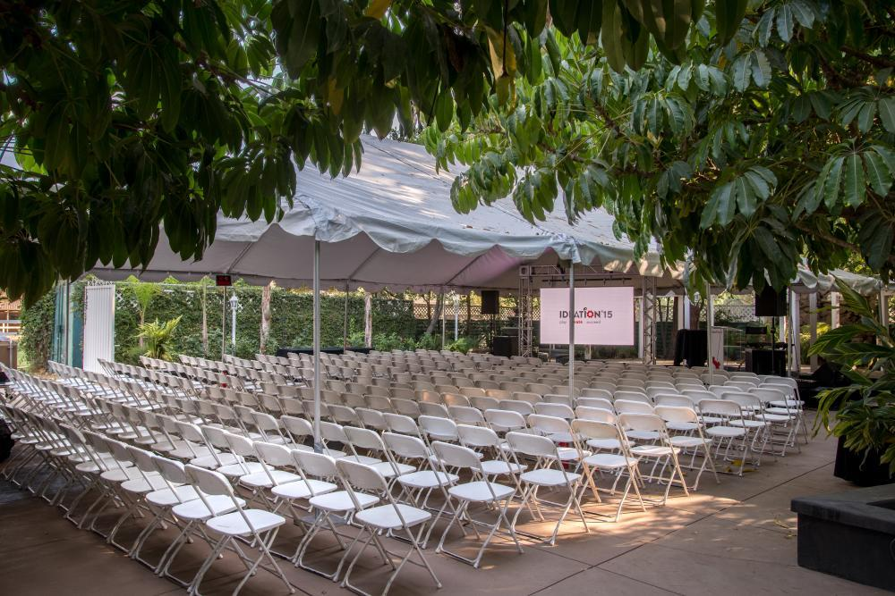 Outdoor tented theatre style conference