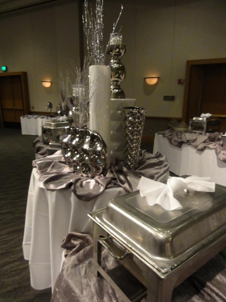 Buffet with Silver and White Accents and decor