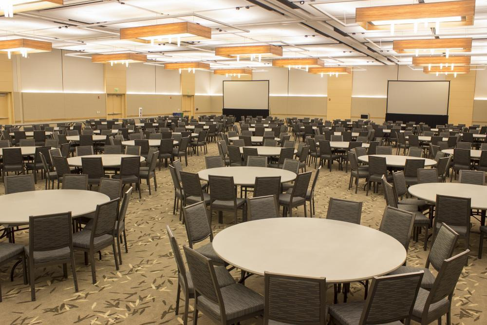 The grand ballroom is 12,000 square feet and can accommodate over 1,200 guests.