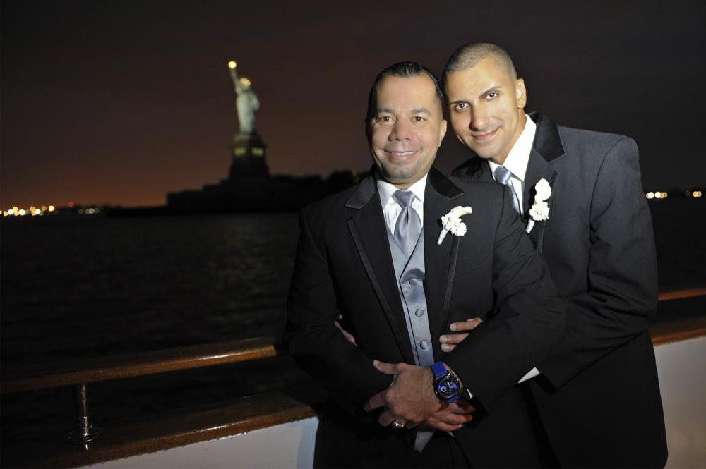 Happy Grooms and Statue of Liberty