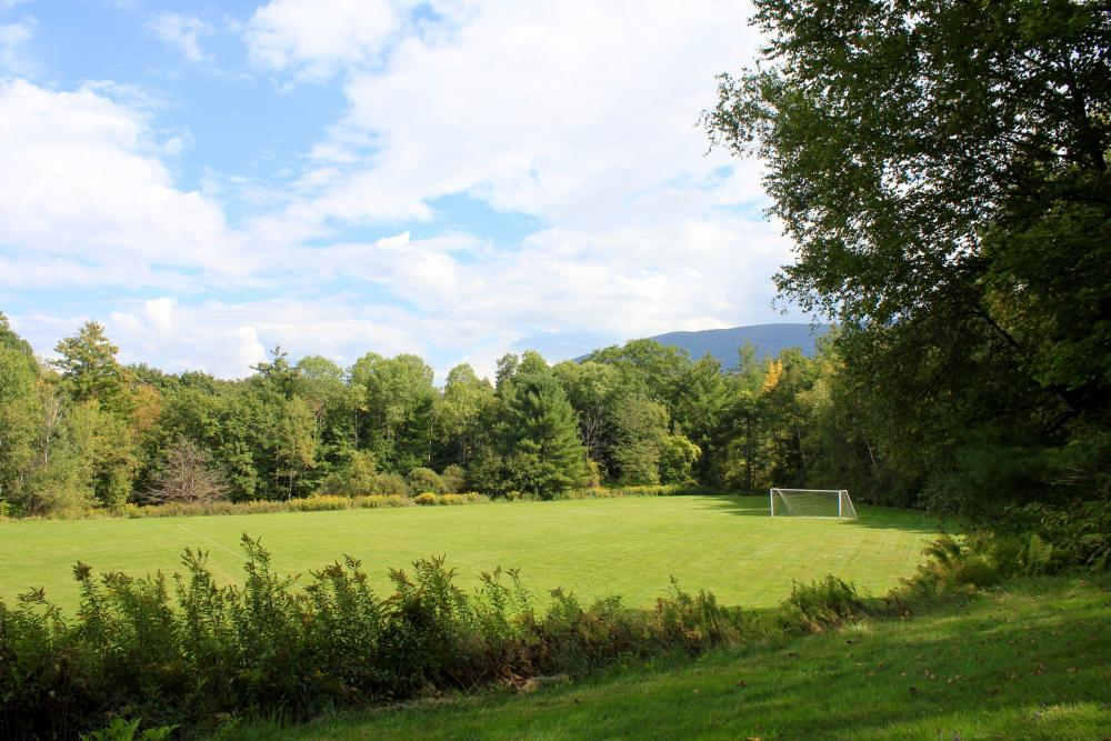 Two soccer fields nestled in the hill for outdoor team building or sports games