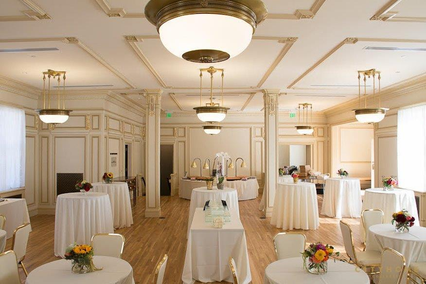 Elegant ballroom set up for a reception