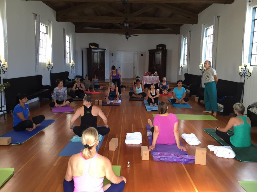 Yoga session at Overlook Hall, Catalina Island