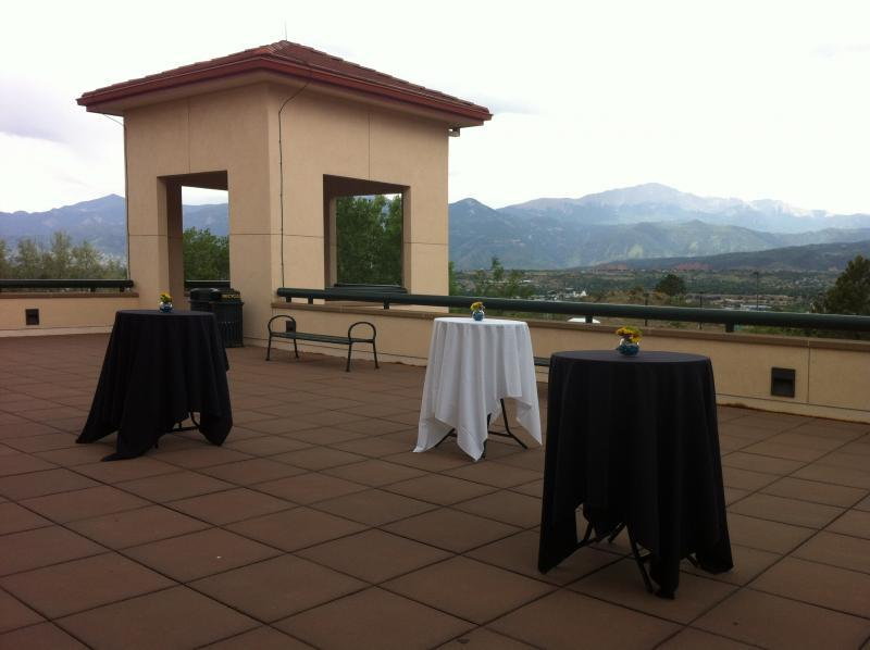 Upper Lodge Patio with View of Pikes Peak