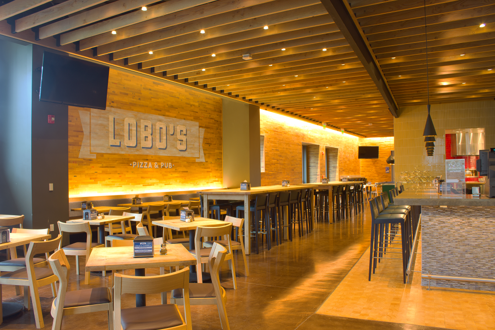 Lobo's pizza and pub is located in the Student Center.