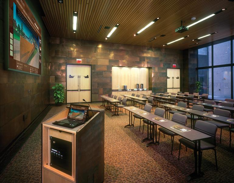 The Swain Room is a mid-size meeting room with built-in AV