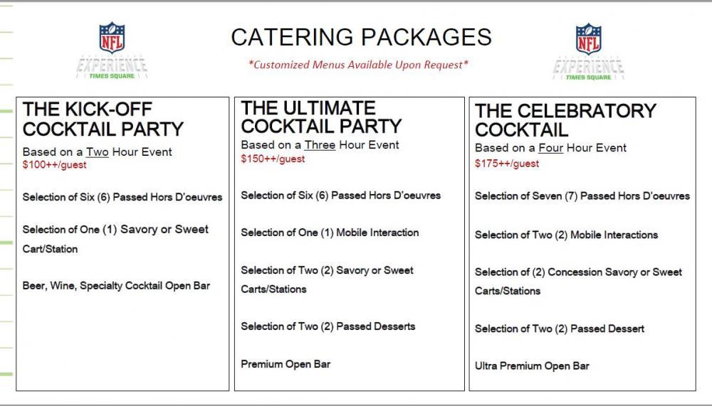 Catering Packages, Not listed: Add Ons, Plated, Passed HDs, Stations, Buffet