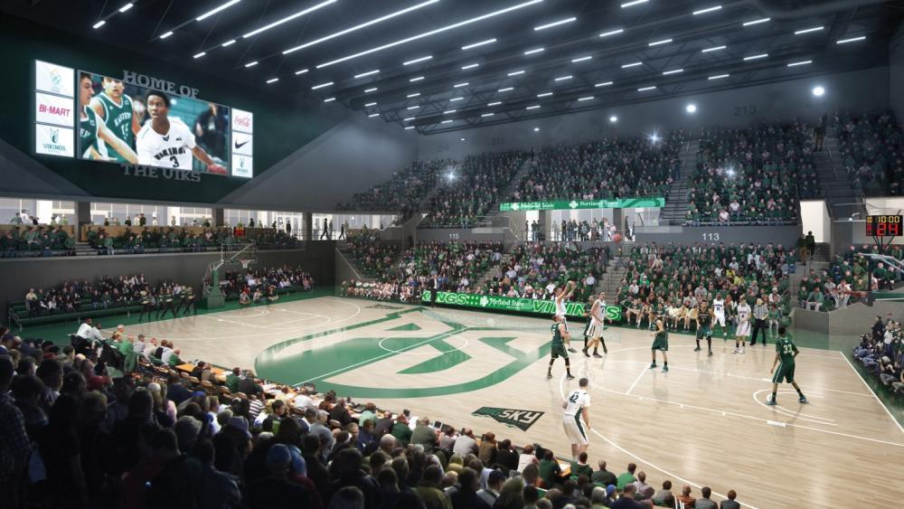 The Viking Pavilion Arena has seating for over 3,000 attendees.