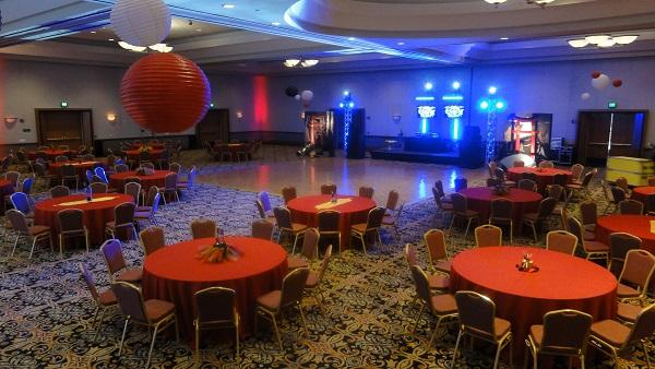 Prom Set of Large Dance Floor and round tables with red linens