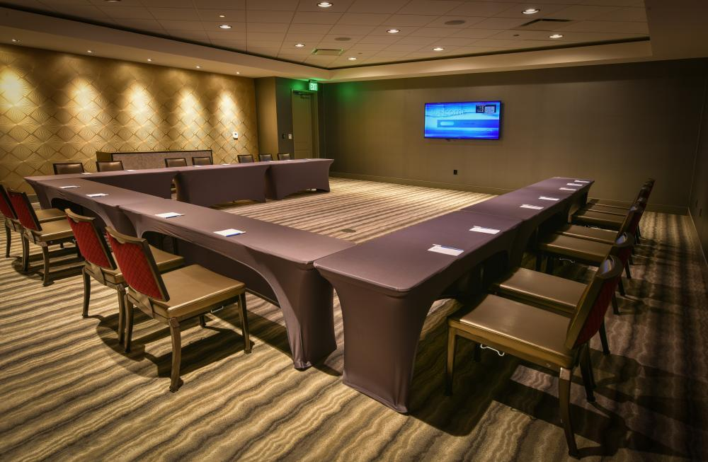 One of four private meeting rooms available for smaller meetings or events.
