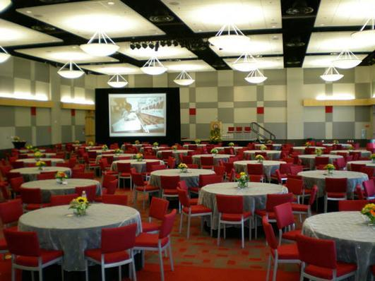 The ballroom offers a classy space for seated dinners or large presentations.