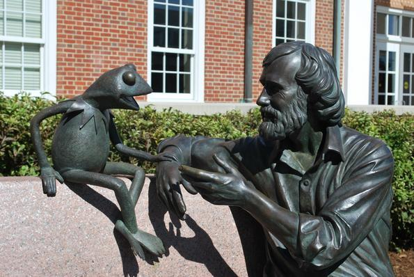 Jim Henson and Kermit Statue at the Stamp Student Union Building