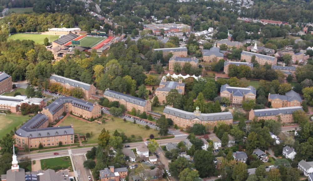 W&M Ariel View of Jamestown Road side of Campus