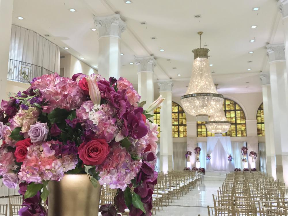 View of Whitehall Ballroom set for a wedding ceremony